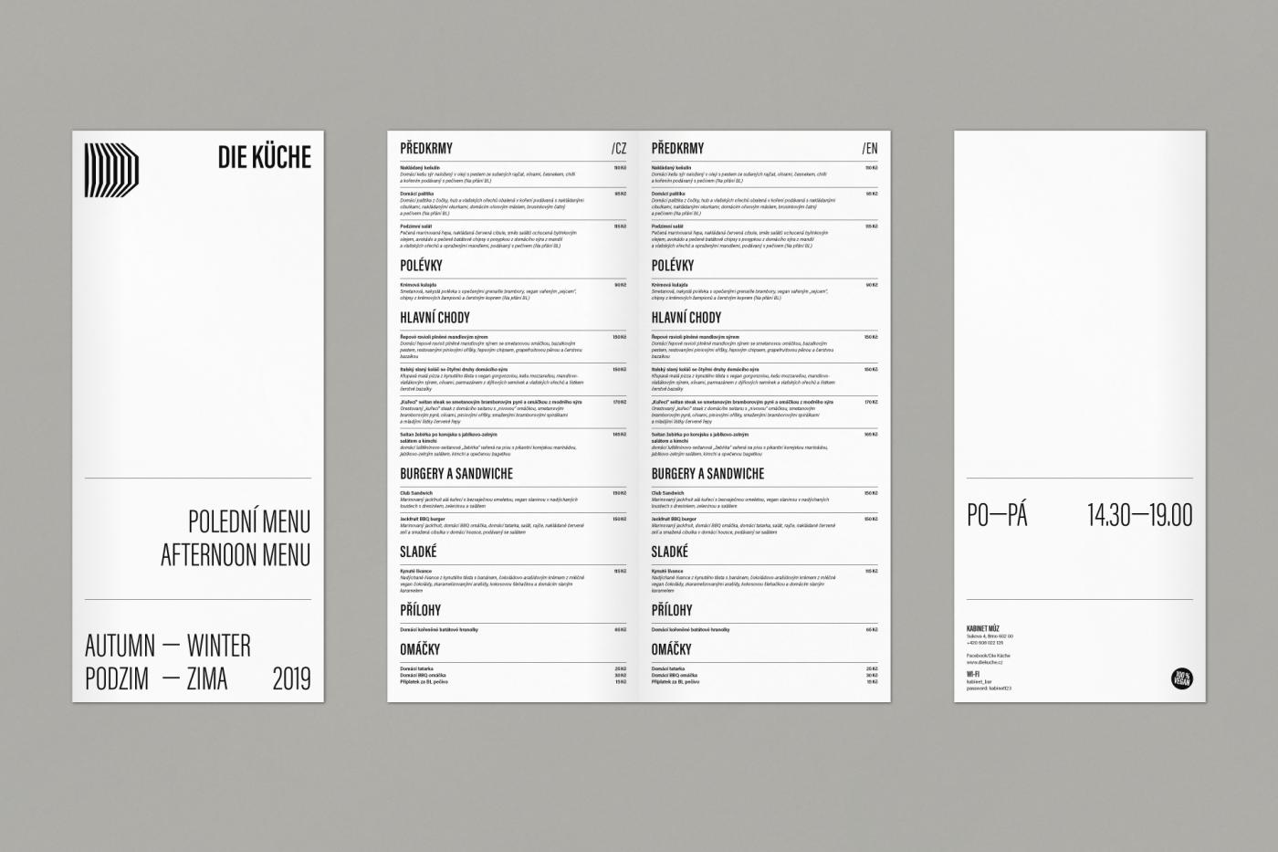 Kabinet můz – Die Küche menu
